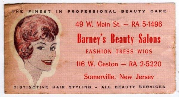 Biglietto da visita di salone di bellezza a Somerville, New Jersey.